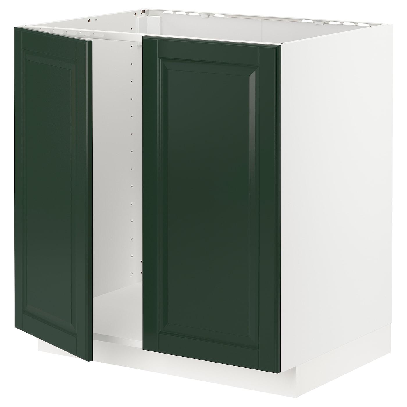 METOD Base cabinet for sink + 9 doors   white/Bodbyn dark green 9x9x9 cm