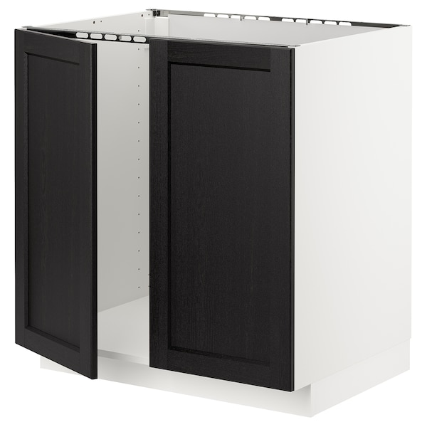 METOD Base cabinet for sink + 2 doors, white/Lerhyttan black stained, 80x60x80 cm