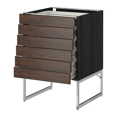 Metod Base Cabinet 6 Fronts 6 Low Drawers Wood Effect