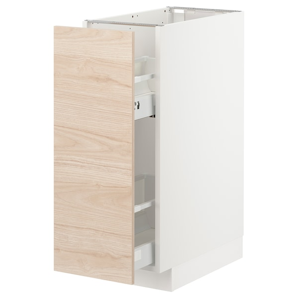METOD Base cabinet/pull-out int fittings, white/Askersund light ash effect, 30x60x80 cm