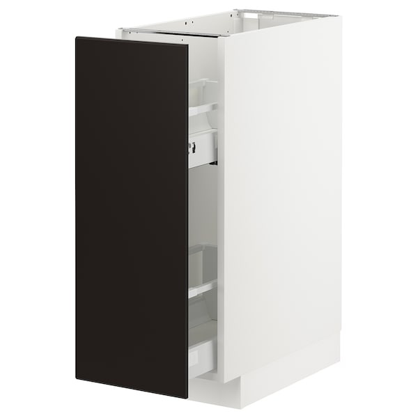 METOD Base cabinet/pull-out int fittings, white/Kungsbacka anthracite, 30x60x80 cm
