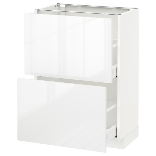 METOD Base cabinet with 2 drawers, white Maximera/Ringhult white, 60x37x80 cm