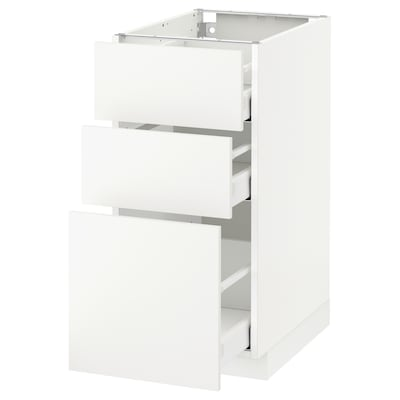 METOD Base cabinet with 3 drawers, white Maximera/Häggeby white, 40x60x80 cm