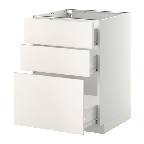 Metod Base Cabinet With 3 Drawers White F 246 Veddinge