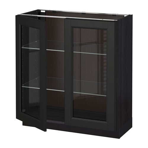 Metod base cabinet with 2 glass doors wood effect black for Wood effect kitchen doors
