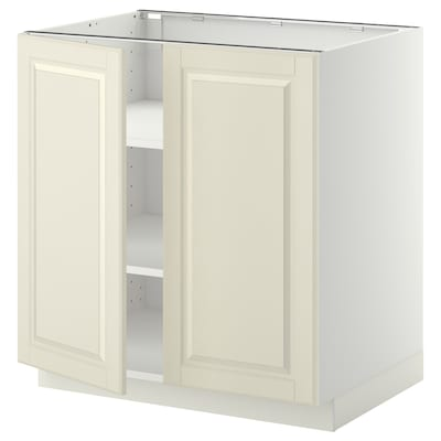 METOD Base cabinet with shelves/2 doors, white/Bodbyn off-white, 80x60x80 cm