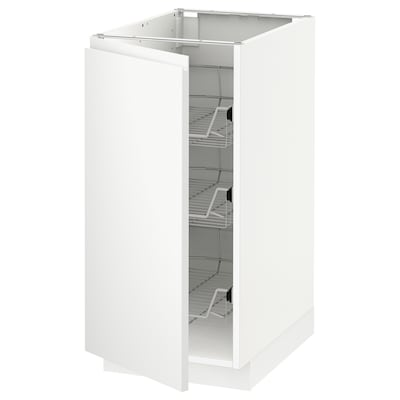 METOD Base cabinet with wire baskets, white/Voxtorp matt white, 40x60x80 cm