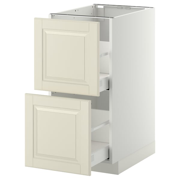 METOD Base cb 2 fronts/2 high drawers, white Maximera/Bodbyn off-white, 40x60x80 cm