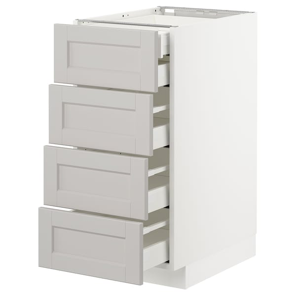 METOD Base cb 4 frnts/2 low/3 md drwrs, white Maximera/Lerhyttan light grey, 40x60x80 cm