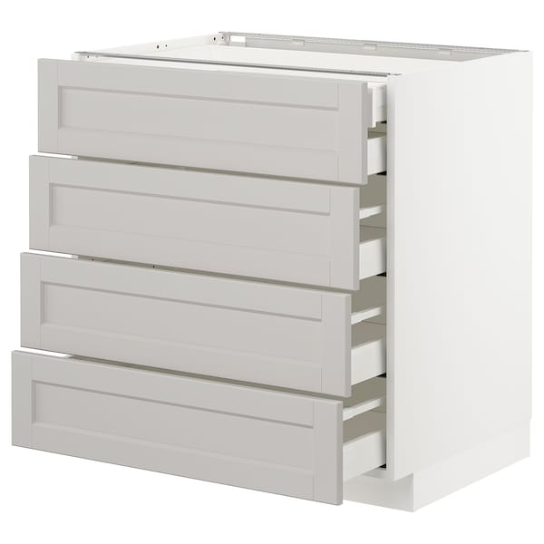 METOD Base cb 4 frnts/2 low/3 md drwrs, white Maximera/Lerhyttan light grey, 80x60x80 cm