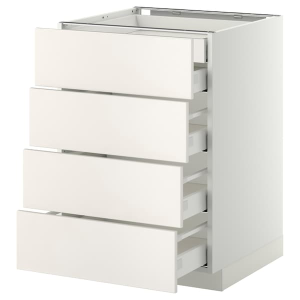 METOD Base cb 4 frnts/2 low/3 md drwrs, white Maximera/Veddinge white, 60x60x80 cm