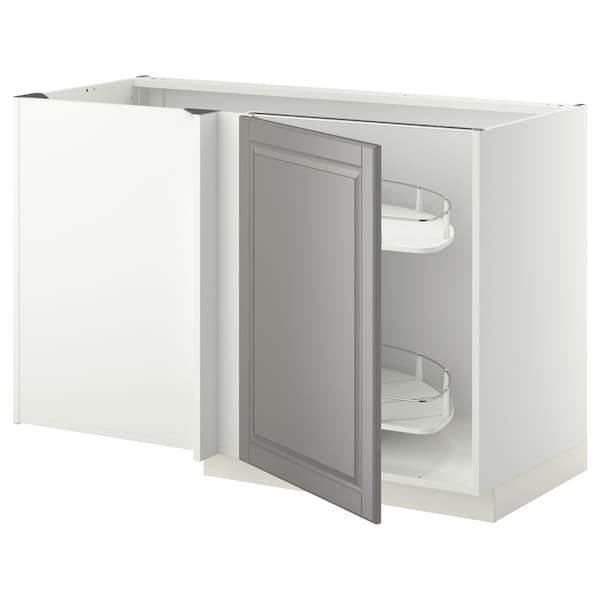 METOD Corner base cab w pull-out fitting, white/Bodbyn grey, 128x68x80 cm