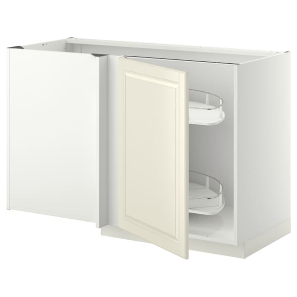 METOD Corner base cab w pull-out fitting, white/Bodbyn off-white, 128x68x80 cm