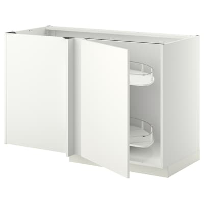 METOD Corner base cab w pull-out fitting, white/Häggeby white, 128x68x80 cm