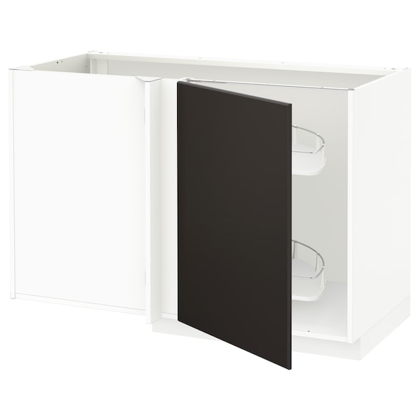 METOD Corner base cab w pull-out fitting, white/Kungsbacka anthracite, 128x68x80 cm