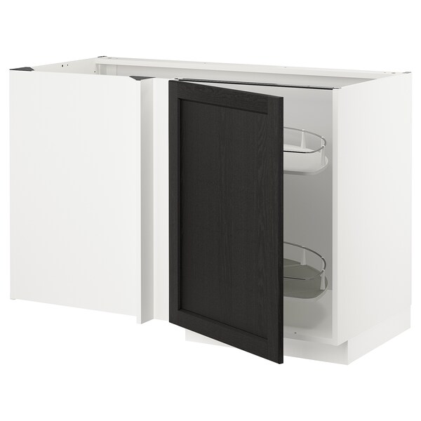 METOD Corner base cab w pull-out fitting, white/Lerhyttan black stained, 128x68x80 cm