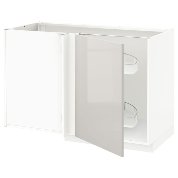 METOD Corner base cab w pull-out fitting, white/Ringhult light grey, 128x68x80 cm
