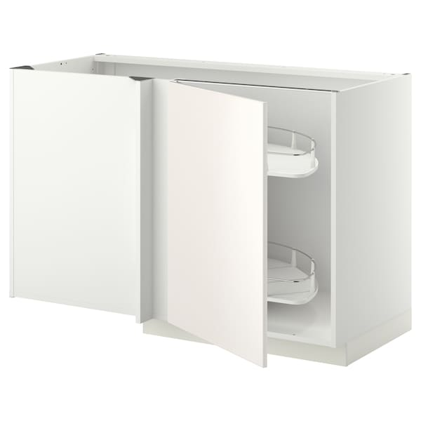 METOD Corner base cab w pull-out fitting, white/Veddinge white, 128x68x80 cm
