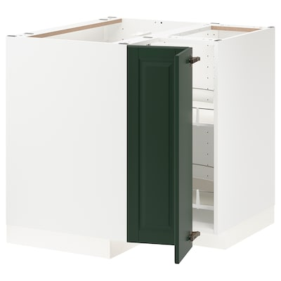 METOD Corner base cabinet with carousel, white/Bodbyn dark green, 88x88x80 cm