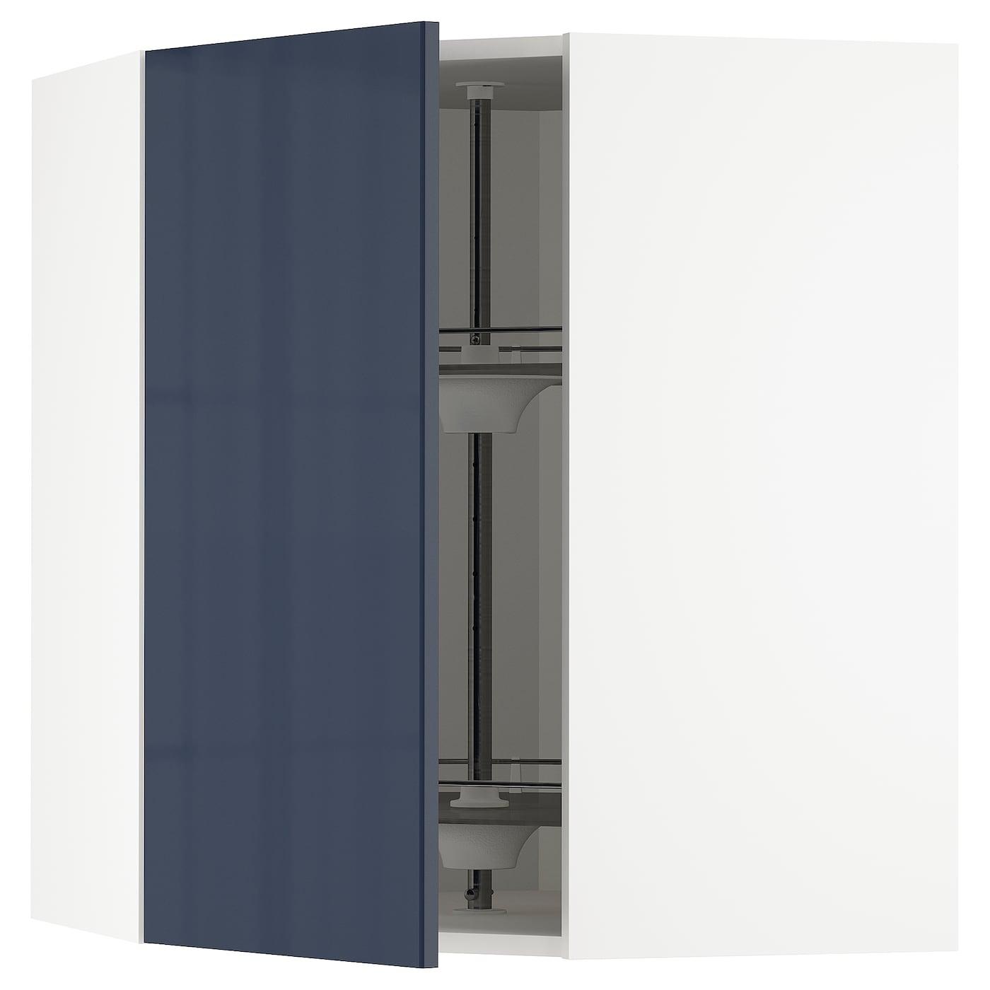 Pensile Angolare Cucina Ikea metod corner wall cabinet with carousel - white, järsta black-blue 68x37x80  cm