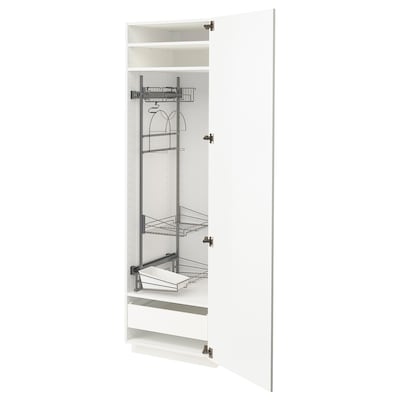 METOD / FÖRVARA High cabinet with cleaning interior, white/Kungsbacka anthracite, 60x60x200 cm