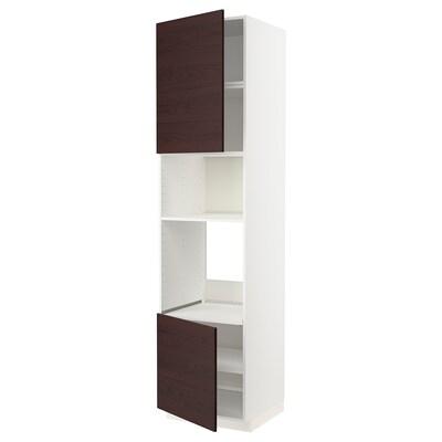 METOD Hi cb f oven/micro w 2 drs/shelves, white Askersund/dark brown ash effect, 60x60x240 cm