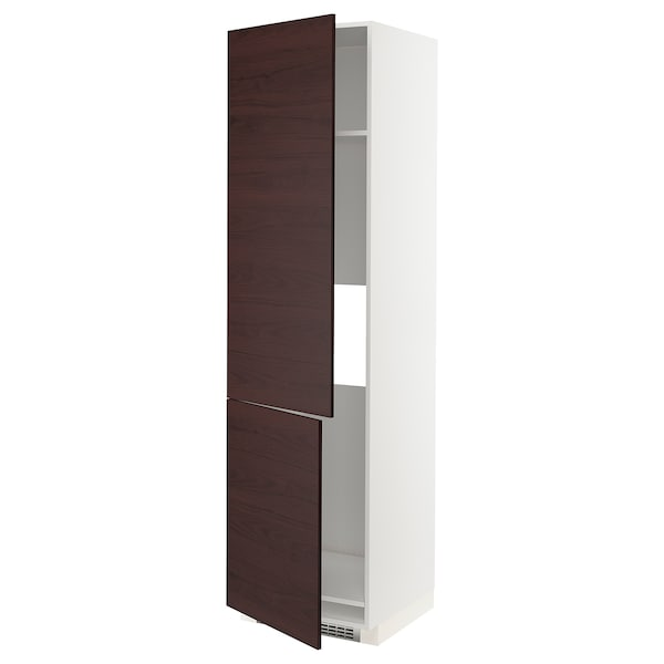 METOD High cab f fridge/freezer w 2 doors, white Askersund/dark brown ash effect, 60x60x220 cm