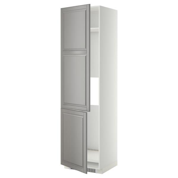 METOD High cab f fridge/freezer w 2 doors, white/Bodbyn grey, 60x60x220 cm