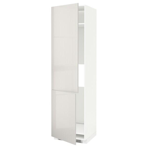 METOD High cab f fridge/freezer w 2 doors, white/Ringhult light grey, 60x60x220 cm