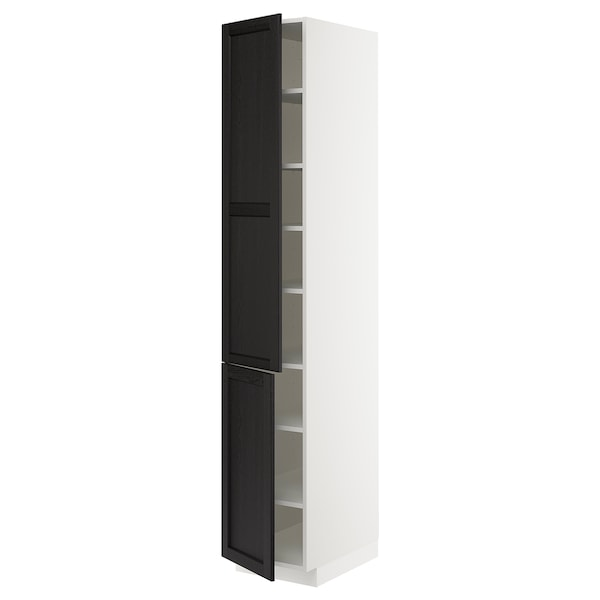 METOD High cabinet with shelves/2 doors, white/Lerhyttan black stained, 40x60x220 cm
