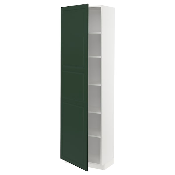 METOD High cabinet with shelves, white/Bodbyn dark green, 60x37x200 cm
