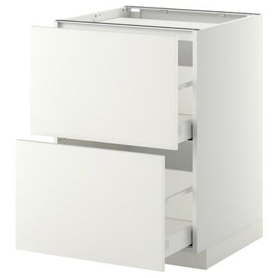 METOD / MAXIMERA Base cab f hob/2 fronts/2 drawers, white/Häggeby white, 60x60x80 cm