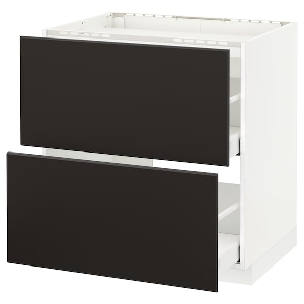METOD / MAXIMERA Base cab f hob/2 fronts/2 drawers, white/Kungsbacka anthracite, 80x60x80 cm