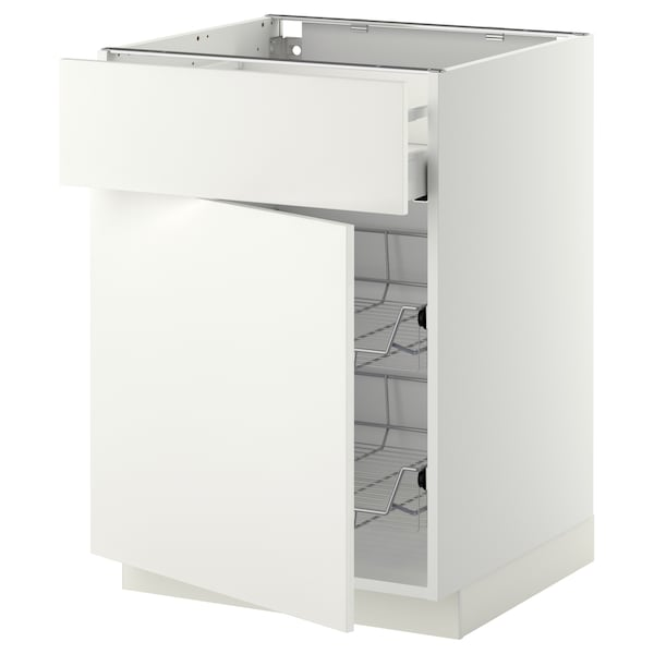 METOD / MAXIMERA Base cab w wire basket/drawer/door, white/Häggeby white, 60x60x80 cm