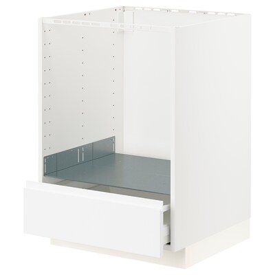 METOD / MAXIMERA Base cabinet for oven with drawer, white/Voxtorp matt white, 60x60x80 cm