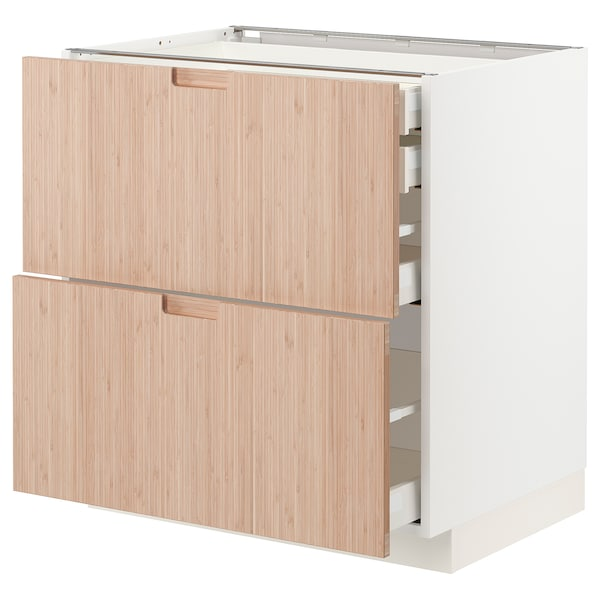 METOD / MAXIMERA Base cb 2 frnts/2 low/1 md/1 hi drw, white/Fröjered light bamboo, 80x60x80 cm