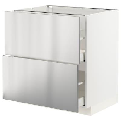 METOD / MAXIMERA Base cb 2 fronts/2 high drawers, white/Vårsta stainless steel, 80x60x80 cm
