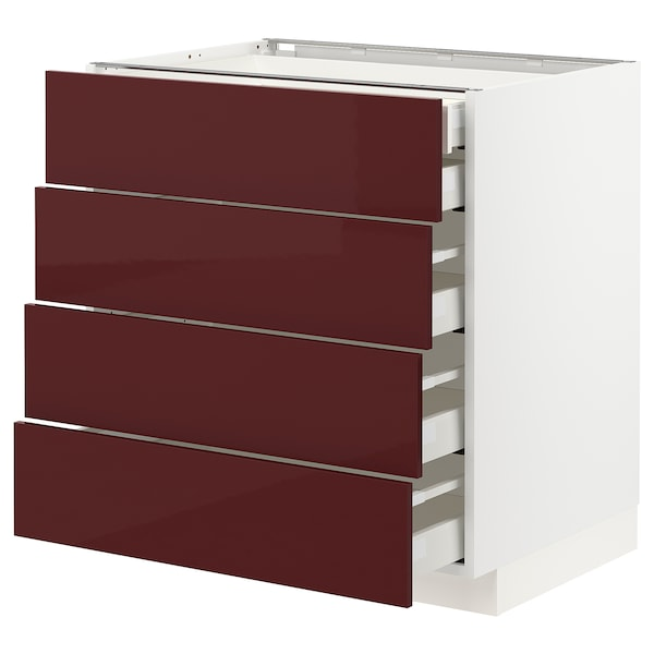 METOD / MAXIMERA Base cb 4 frnts/2 low/3 md drwrs, white Kallarp/high-gloss dark red-brown, 80x60x80 cm