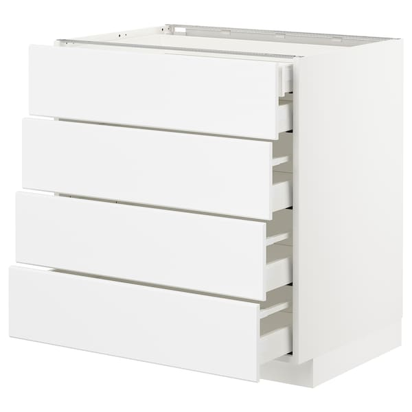 METOD / MAXIMERA Base cb 4 frnts/2 low/3 md drwrs, white/Kungsbacka matt white, 80x60x80 cm