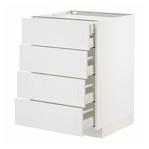 METOD / MAXIMERA Base cb 4 frnts/2 low/3 md drwrs, white/Stensund white, 60x60x80 cm
