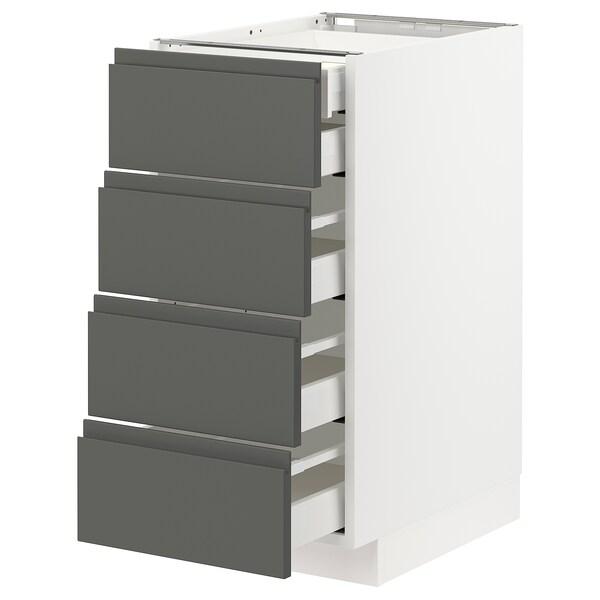 METOD / MAXIMERA Base cb 4 frnts/2 low/3 md drwrs, white/Voxtorp dark grey, 40x60x80 cm