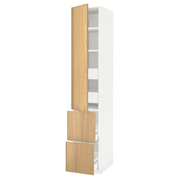 METOD / MAXIMERA Hi cab w shlvs/4 drawers/dr/2 frnts, white/Ekestad oak, 40x60x220 cm