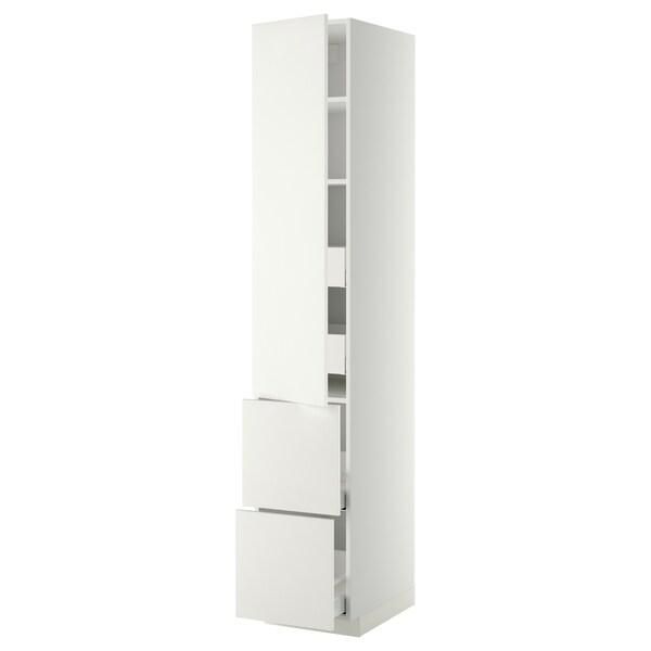 METOD / MAXIMERA Hi cab w shlvs/4 drawers/dr/2 frnts, white/Häggeby white, 40x60x220 cm