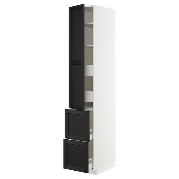 METOD / MAXIMERA Hi cab w shlvs/4 drawers/dr/2 frnts, white/Lerhyttan black stained, 40x60x220 cm