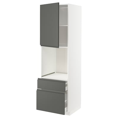 METOD / MAXIMERA High cabinet f oven+door/2 drawers, white/Voxtorp dark grey, 60x60x200 cm