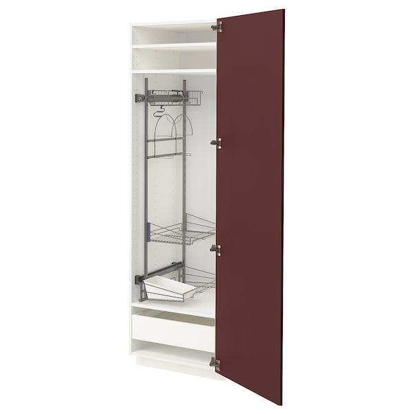 METOD / MAXIMERA High cabinet with cleaning interior, white Kallarp/high-gloss dark red-brown, 60x60x200 cm