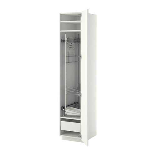 METOD / MAXIMERA High cabinet with cleaning interior, white, Ringhult white