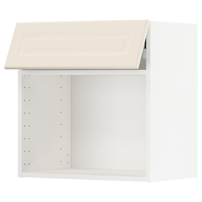 METOD Wall cab for microwave ov w push-op, white/Bodbyn off-white, 60x37x60 cm