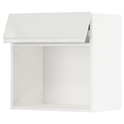 METOD Wall cab for microwave ov w push-op, white/Voxtorp high-gloss/white, 60x37x60 cm