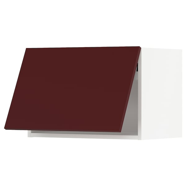 METOD Wall cabinet horizontal w push-open, white Kallarp/high-gloss dark red-brown, 60x37x40 cm